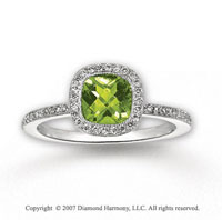 14k White Gold Cushion Peridot 1/3 Carat Diamond Ring