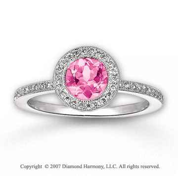 14k White Gold Round Pink CZ 1/3 Carat Diamond Ring