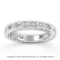 14k White Gold Elegant Milgrain Diamond Stackable Ring