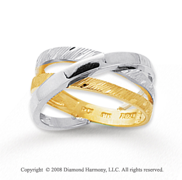 14k Two Tone Gold Crossover Splendid Fashion Ring
