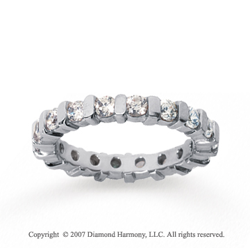 1 1/2 Carat Diamond 14k White Gold Eternity round bar band.