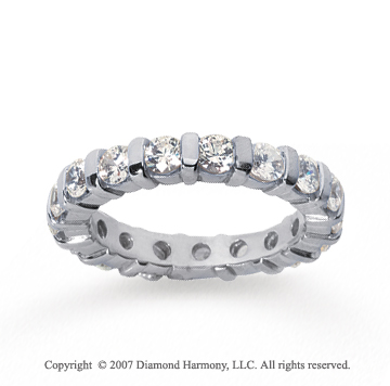 2 Carat Diamond 14k White Gold Eternity round bar band.