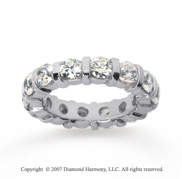4 Carat Diamond 14k White Gold Eternity round bar band.