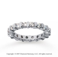 1 1/2 Carat Diamond 18k White Gold Eternity round bar band.