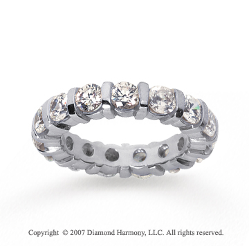3 Carat Diamond 18k White Gold Eternity round bar band.