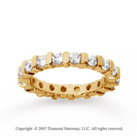 1 1/2 Carat Diamond 14k Yellow Gold Eternity round bar band.