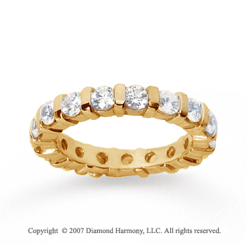 2 Carat Diamond 14k Yellow Gold Eternity round bar band.