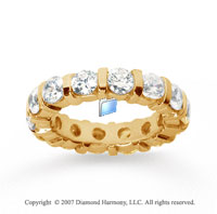 4 Carat Diamond 14k Yellow Gold Eternity round bar band.