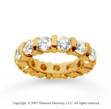 5 Carat Diamond 14k Yellow Gold Eternity round bar band.
