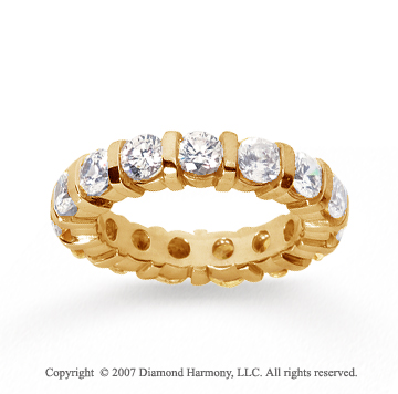3 Carat Diamond 18k Yellow Gold Eternity round bar band.