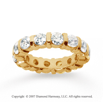 4 Carat Diamond 18k Yellow Gold Eternity round bar band.