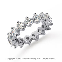 4 Carat Diamond Platinum Eternity Round Open prong band