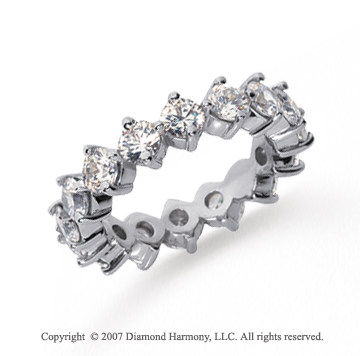 3 Carat Diamond Platinum Eternity Round Open prong band
