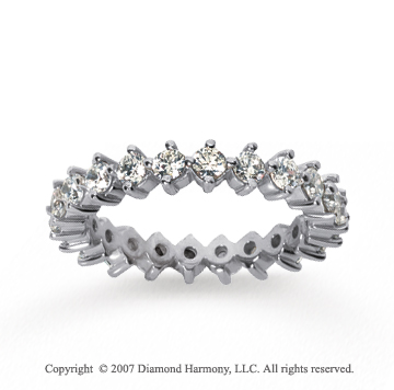 1 1/2  Carat Diamond 14k White Gold Eternity Round Open prong band