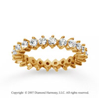 1 1/2  Carat Diamond 14k Yellow Gold Eternity Round Open prong band