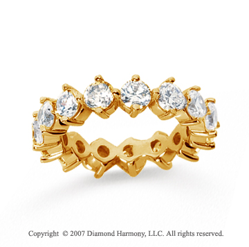 4  Carat Diamond 14k Yellow Gold Eternity Round Open prong band