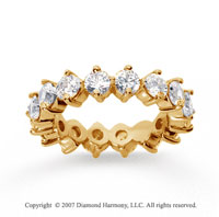 3  Carat Diamond 14k Yellow Gold Eternity Round Open prong band