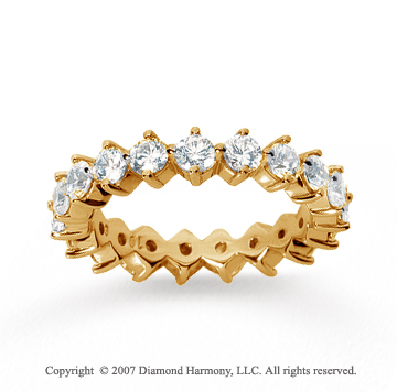 2  Carat Diamond 18k Yellow Gold Eternity Round Open prong band