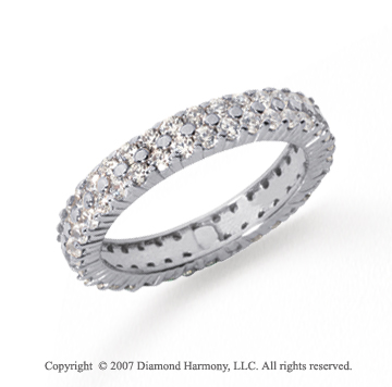 1 1/2  Carat Diamond Platinum Eternity Two Row Eternity Band