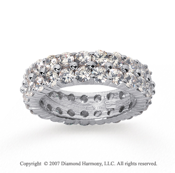 4 1/2  Carat Diamond 14k White Gold Eternity 2 Row Eternity Band