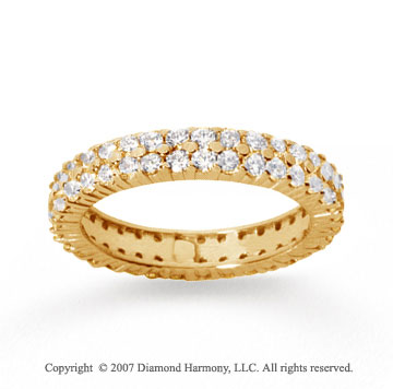 1 1/2  Carat Diamond 14k Yellow Gold Eternity 2 Row Eternity Band