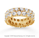 6 1/2  Carat Diamond 14k Yellow Gold Eternity Two Row Eternity Band