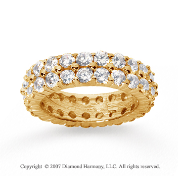 4 1/2  Carat Diamond 18k Y Gold Eternity Two Row Eternity Band
