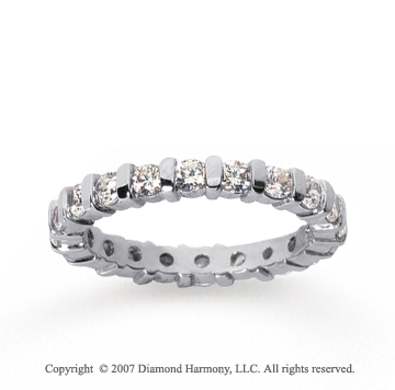 1 Carat Diamond 18k White Gold Eternity round bar band.