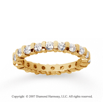 1 Carat Diamond 18k Yellow Gold Eternity round bar band.