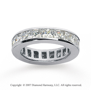 2 1/2 Carat Diamond 14k White Gold Princess Eternity Band