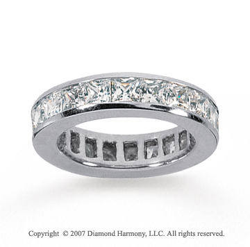 3 1/2 Carat Diamond 18k White Gold Princess Eternity Band