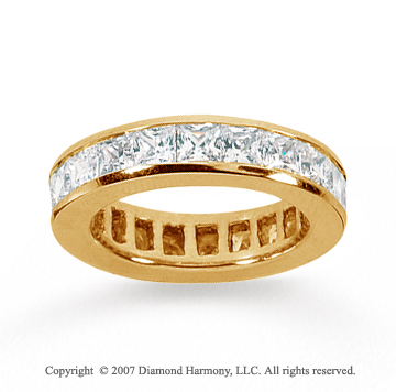 3 Carat Diamond 18k Yellow Gold Princess Eternity Band