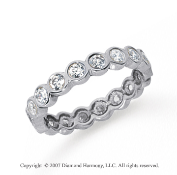 1 Carat Diamond Platinum Round Bezel Eternity Band