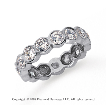 2 1/2 Carat Diamond Platinum Round Bezel Eternity Band