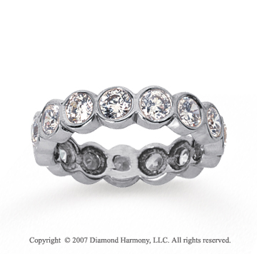 2 Carat Diamond 14k White Gold Round Bezel Eternity Band