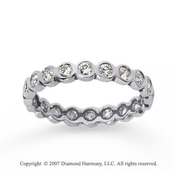 1/2 Carat Diamond 18k White Gold Round Bezel Eternity Band