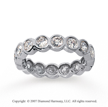 1 1/2 Carat Diamond 18k White Gold Round Bezel Eternity Band