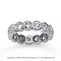 2 1/2 Carat Diamond 18k White Gold Round Bezel Eternity Band