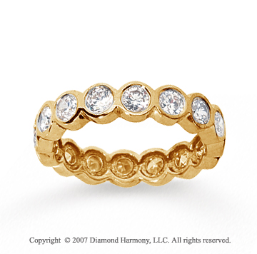1 1/2 Carat Diamond 14k Yellow Gold Round Bezel Eternity Band