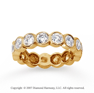 2 Carat Diamond 14k Yellow Gold Round Bezel Eternity Band