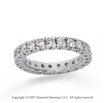 1 Carat Diamond 14k White Gold Round Tigerclaw Eternity Band