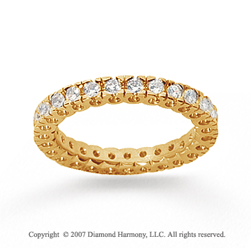 3/4 Carat Diamond 14k Yellow Gold Round Tigerclaw Eternity Band