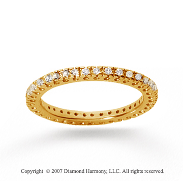 1/3 Carat Diamond 18k Yellow Gold Round Tigerclaw Eternity Band