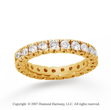 1 Carat Diamond 18k Yellow Gold Round Tigerclaw Eternity Band