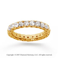 1.50 Carat Diamond 18k Yellow Gold Round Tigerclaw Eternity Band