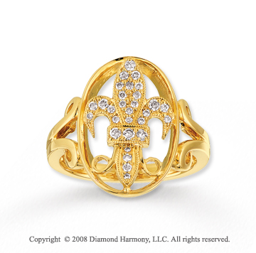 14k Yellow Gold Sophisticated Diamond Fleur De Lis Ring