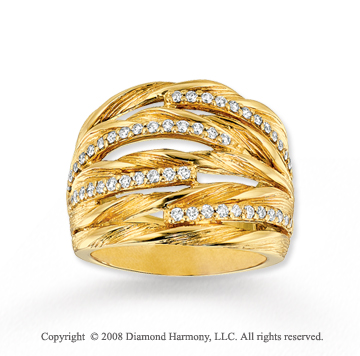 14k Yellow Gold 1/2 Carat Diamond Layered Ring