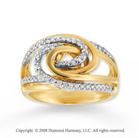 14k Two Tone Gold 1/3 Carat Diamond Fashion Ring