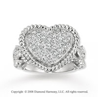 14k White Gold .80 Carat Diamond Heart Ring