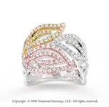 14k Tri-Tone 1 Carat Diamond Three Leaf Ring